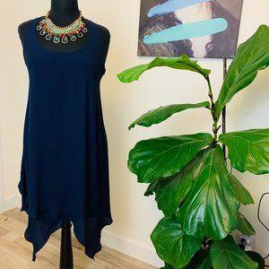 ♻️🌿BCBG Paris | Asymmetrical Navy Midi Dress